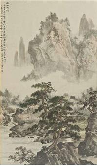 berglandschaft über kiefern nach song-vorbild by ma qi'ou