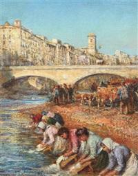 women washing, gerona by arthur trevor haddon