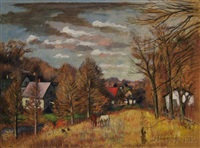 autumn view of farm with horses by simkha simkhovitch