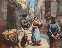 figures in a spanish street by arthur trevor haddon