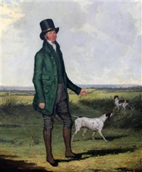 portrait of mr mansell standing in a landscape with two pointers by henry calvert