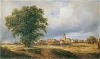 niederrheinlandschaft mit einem dorf by franz hengsbach