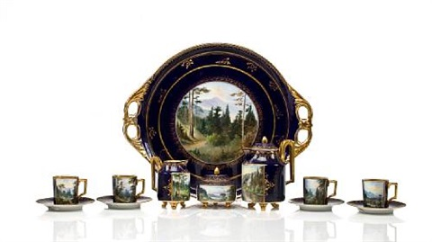 a vienna style tea service comprising a teapot and cover, a sugar bowl and cover, a creamer, four cups, four saucers, and a two-handled tray (set of 12) by hermann voight