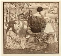liebe. am fluss sitzendes liebespaar mit harfenspielerin by heinrich vogeler