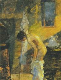 kvinde ved morgentoilette by mogens gad