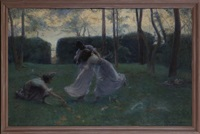 trois jeunes femmes dans un parc by pierre emile cornillier