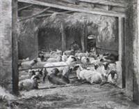 schäfer mit herde im innern eines stalls by bernhard hergarden