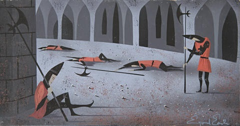 sleeping guardsman after the spell was cast from sleeping beauty by eyvind earle