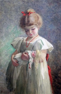 portrait of girl holding a doll by nelli sansom