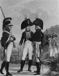 fünf soldaten in einer hügeligen landschaft by johann michael mettenleiter