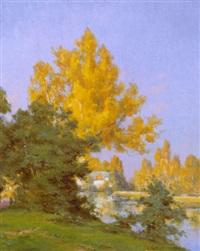 landskab med solbeskinnende træer ved flod by georges pierre louis serrier