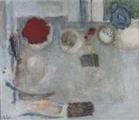 ohne titel (abstrakte formen in rot, braun und grün auf beige-grauem grund) by hermann ratjen