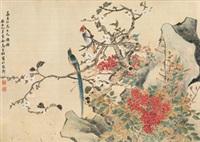 双寿图 镜心 绢本 by ma jiatong