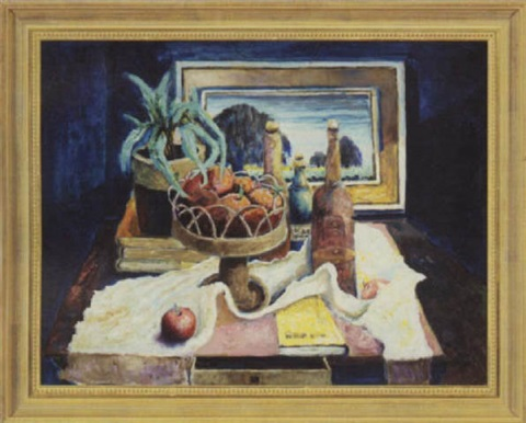 still life with apples bottles books and painting by william arnold