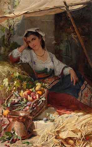 Joven napolitana vendiendo fruta by Louis Emile Adan on artnet