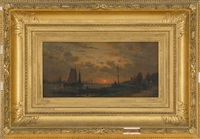 continental harbor at sunset by auguste paul charles anastasi