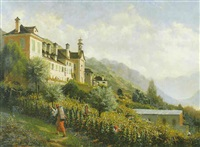 landschaft (tirol ?) mit weinberg by victor jacques renault