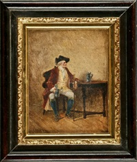 galanter kavalier mit dreispitz und gehstock beim bier by hermann vogler