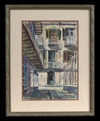 pirate's alley looking toward royal street; french quarter lamp post (2 works) by rolland harve golden