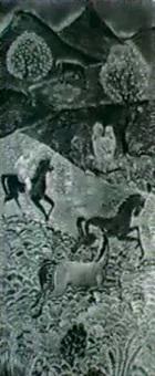 chevaux au galop aux pieds des montagnes by pierre dunand