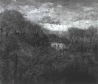 landscape in autumn with white cottage by theodore clement steele