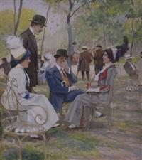 konversation im park by leonida