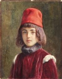junge mit samtkostüm und roter mütze by casimiro tomba