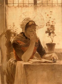 girl reading near window by walter macewen