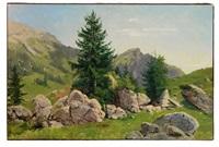 besonnte alpenlandschaft mit fels und baum by georg eduard otto saal