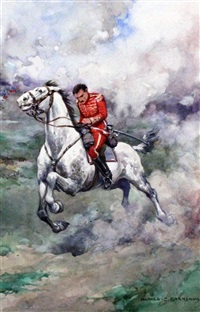 untitled (illustrations for reginal horsley, the red hussat, w & r chambers ltd., edinburgh) (set of 6) by harold c. earnshaw