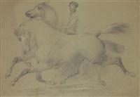 reiter mit zwei galoppierenden pferden by jacques-laurent agasse