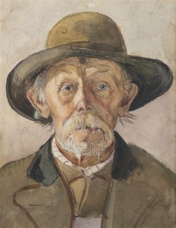 porträt eines alten mannes mit hut by wilhelm maria hubertus leibl