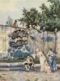 elegante gesellschaft an einem brunnen in einem park by pietro gabrini