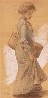 una joven by joan llimona y bruguera