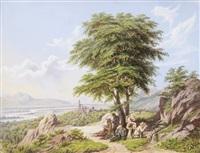 landschaft mit rastenden wanderern by g.m. leinmüller
