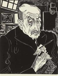 handsign. bildnis von max liebermann in seinem atelier by conrad felixmüller