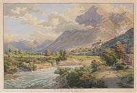 vue du chateau de wimmis et les environs by johann ludwig aberli