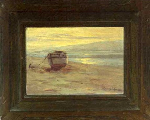 coastal scene with moored boat by george sumner colman