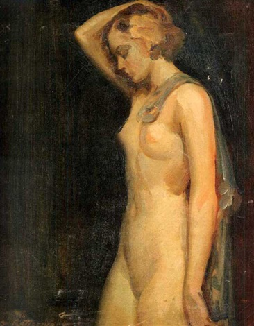 female nude standing by walter g ratterman