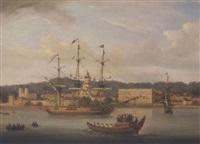 skibe på floden, antagelig på themsen ved greenwich by j. v. foussier