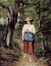 pige på en skovsti med blomster og fuglerede i hånden by charles camarroque