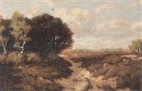torflandschaft mit wald und verstecktem kirchlein an einem sonnigen spätsommertag by martinus jacobus nefkens