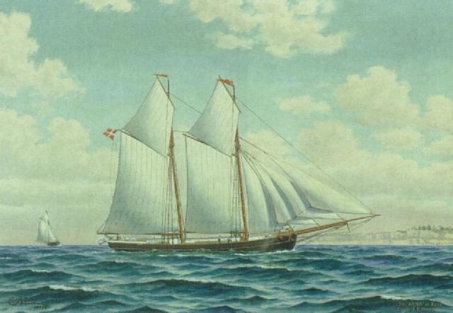 """skibsportræt af """"anna af faxe"""" fort af capt. j.p. hansen by christian kølle"""
