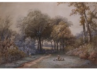 parklandschaft mit figurenstaffage by henry james holding