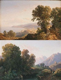 paysage alpin animé (+ paysage lacustre animé; pair) by elisabeth fort-siméon