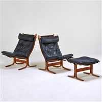 pair of lounge chairs and ottoman (3 works) by ingmar anton relling