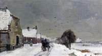 winter landscape with figures and cart horse by j. c. (joannes cornelis) roelandse