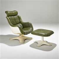 lounge chair and ottoman, finland (2 works) by yrjö kukkapuro
