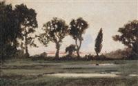 abendliche teichlandschaft mit busch- und baumwerk im verfärbten gegenlicht by herbert w. neville