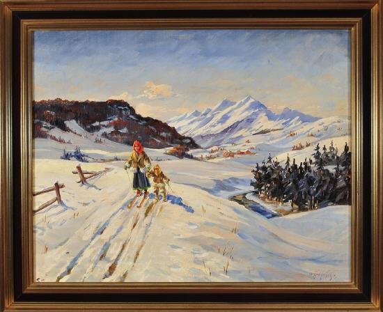 mutter und kind beim skilanglauf in einer weiten winterlandlandschaft by christian aabye talge